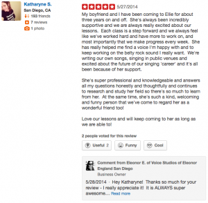 5 star Yelp Review of Online Singing Lessons with Ellie by Katharyne