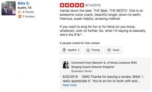 5 star Yelp Review by Billie in Austin TX of Online Singing Lessons with Ellie