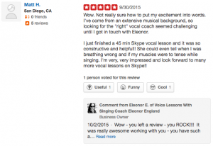 5 Star Yelp Review of Online SInging Lessons with Eleonor England by Mat in San Diego