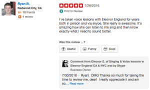 5 star Yelp Review of Ellie's Singing Lessons by Ryan in San Francisco and Salt Lake City