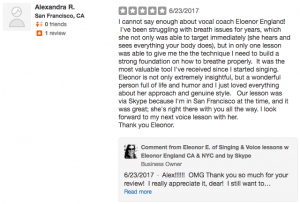 5 star Yelp Revie of Ellie's Online Singing Lessons by Alexandra in San Francisco